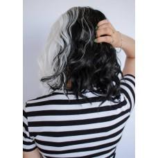 Цветной черно белый парик без челки ( 2432 )