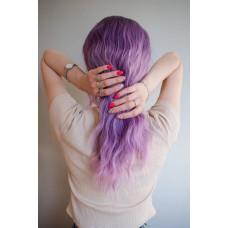 Фіолетова перука колорування косий проділ ( 1616 )