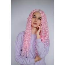 Длинный розовый парик афрокудри термоволокно ( 2119 )