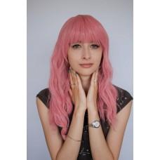 Розовый парик средней длины из термоволокна ( 2230-13 )