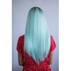 Длинный бирюзовый парик затемненные корни ( 1047 )
