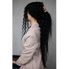 Чорна довга перука афрокучері на сітці ( 5418 )