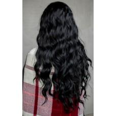 Довга чорна перука на сітці без чубчика ( 1136 )