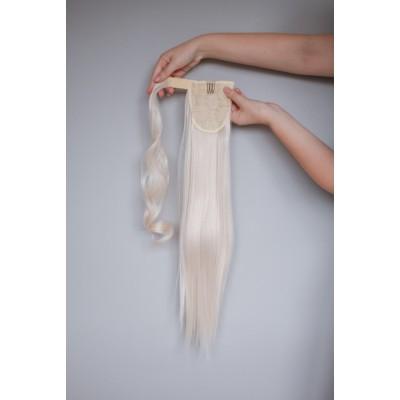 Хвост шиньон холодный блонд ровный ( 60 )