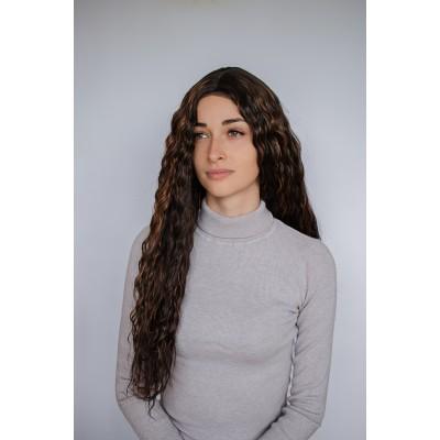 Довга коричнева перука меліровка ( 6516 )