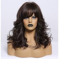 Темно коричнева перука з чолкою і імітацією шкіри голови ( 3781 )