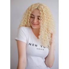Довга перука афрокучері блондинка проділ на сітці ( 6123 )