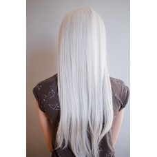 Довга перука платиновий блонд з проділом на сітці ( 1007 )