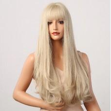 Довга перука попелястий блонд з чолкою ( 5038 )