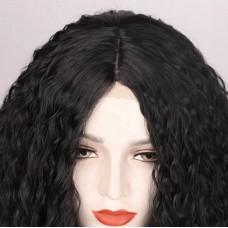 Чорна кудрява перука з сіточкою на проділі ( 3519 )