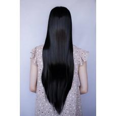 Довга чорна перука з проділом на сітці  ( 3218 )