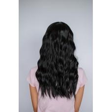 Довга чорна хвиляста перука з проділом на сітці ( 6507 )