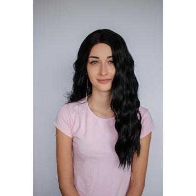 Чорна перука штучне волосся хвиля ( 6507 )