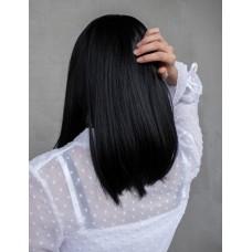 Чорна жіноча перука без чубчика на сітці ( 9420 )