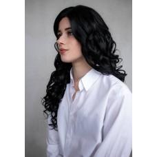 Чорна кудрява перука  на сітці lace wig ( 9475 )