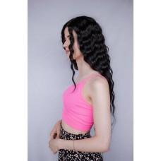 Довга чорна перука на сітці хвилясте волосся ( 3973 )