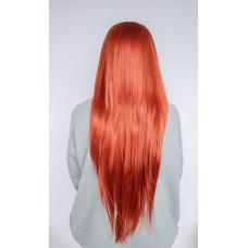 Длинный рыжий парик без челки на сетке ( 1320 )