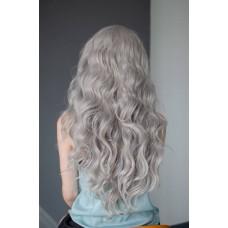 Довга сіра перука на сітці хвилясте волосся ( 9417 )