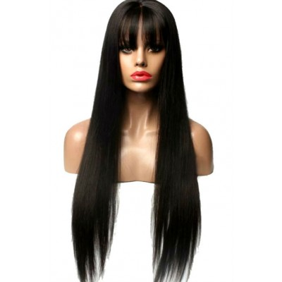 Довга чорна перука на сітці з рівним волоссям ( 9416 )