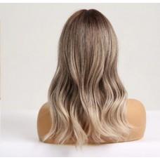 Русый парик средняя длина косая челка ( 2501 )