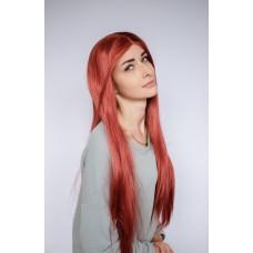 Длинный рыжий парик на сетке ровные волосы ( 1820/1 )