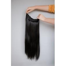 Волосы на заколках монопрядь черно коричневый тон ( 2 )