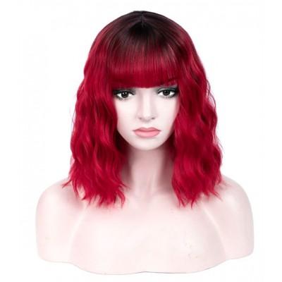 Красный парик с затемненными корнями