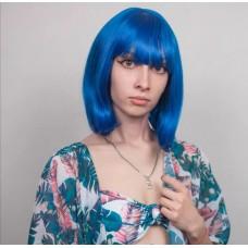Синя перука каре імітація росту волосся ( 4421 )