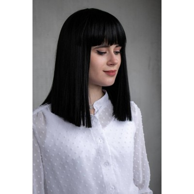 Чорна перука каре з фібри на сітці ( 9421 )